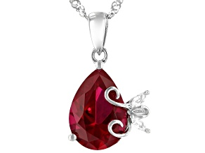 Red Lab Created Ruby Rhodium Over Sterling Silver Pendant With Chain 3.93ctw