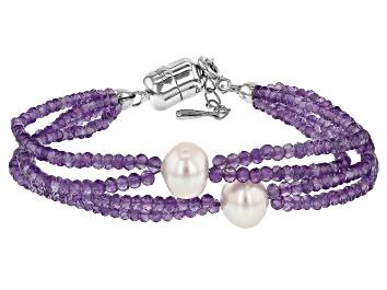 Picture of Purple Amethyst Rhodium Over Silver Bracelet 22.00ctw