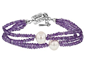 Purple Amethyst Rhodium Over Silver Bracelet 22.00ctw
