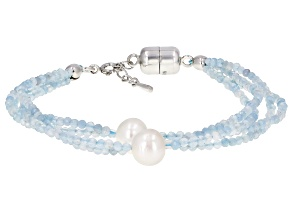 Blue Aquamarine  Rhodium Over Sterling Silver Bracelet