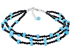 Blue Opal Rhodium Over Sterling Silver Bracelet
