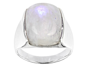 White Rainbow Moonstone Rhodium Over Silver Solitaire Ring