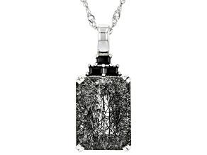 Black Tourmalinated Quartz Rhodium Over Silver Pendant With Chain 10.50ctw