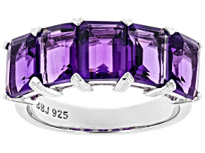 Purple Amethyst Rhodium Over Sterling Silver Band Ring 4.25ct