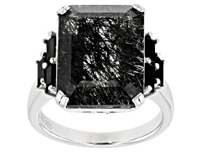 Black Tourmalinated Quartz Rhodium Over Silver Ring 10.93ctw