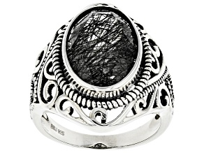 Black Tourmalinated Quartz Rhodium Over Silver Ring 5.10ct