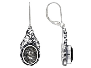 Black Tourmalinated Quartz Rhodium Over Silver Earrings 4.25ctw