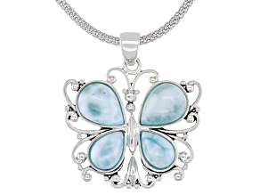 Blue Larimar Rhodium Over Silver Butterfly Pendant With Chain
