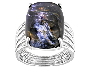Blue Pietersite Rhodium Over Sterling Silver Solitaire Ring