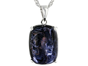 Blue Pietersite Rhodium Over Silver Pendant With Chain