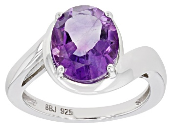 Picture of Purple Amethyst Rhodium Over Sterling Silver Solitaire ring 2.72ct