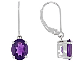 Purple Amethyst Rhodium Over Sterling Silver Dangle Earrings 2.72ctw