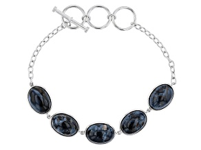 Blue Pietersite Rhodium Over Sterling Silver Bracelet