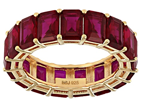Red Lab Created Ruby 18k Yellow Gold Over Sterling Silver Band Ring 10.80ctw