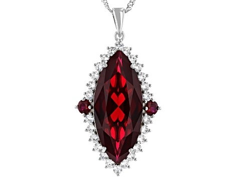 Red Lab Created Ruby Rhodium Over Silver Pendant With Chain 25.62ctw
