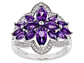 Purple Amethyst Rhodium Over Sterling Silver Ring 2.59ctw
