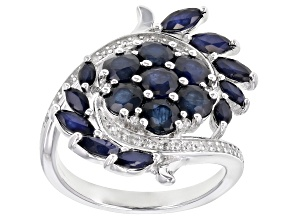 Blue Sapphire Rhodium Over Sterling Silver Ring 3.72ctw