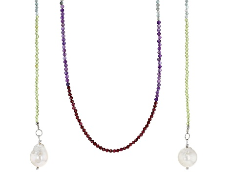 Multi-Color Gemstone & Cultured Freshwater Pearl Rhodium Over Silver Wrap Necklace 31.87ctw