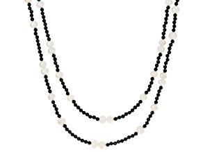 Black Spinel Rhodium Over Sterling Silver Necklace