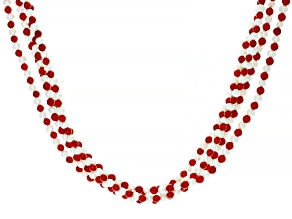 Red Coral Rhodium Over Sterling Silver Twisted Bead Necklace