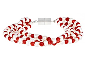 Red Coral Rhodium Over Sterling Silver Bracelet