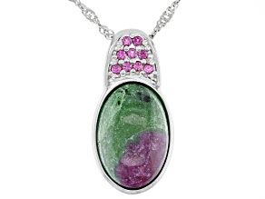 Red Ruby Zoisite rhodium over silver pendant with chain .12ctw