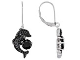 Black Spinel Rhodium Over Silver Earrings 2.58ctw