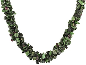 Multicolor Ruby-in-Zoisite Rhodium Over Sterling Silver Chips Necklace