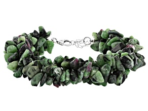 Multi-color Ruby-In-Zoisite Rhodium Over Silver Bracelet