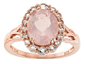 Pink Rose Quartz 18k Rose Gold Over Silver Ring .54ctw