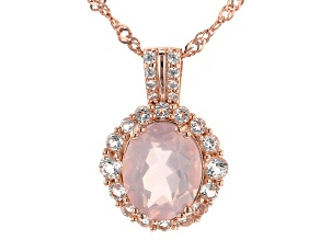 Pink Rose Quartz 18k Rose Gold Over Silver Pendant With Chain .62ctw