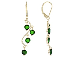 Green Chrome Diopside 18K Yellow Gold Over Sterling Silver Dangle Earrings 2.30ctw