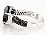 Black Spinel Rhodium Over Silver Ring 6.84ctw
