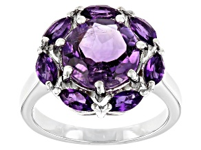 Purple Amethyst Rhodium Over Sterling Silver Ring 3.55ctw