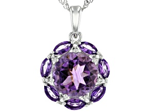 Purple Amethyst Rhodium Over Sterling Silver Pendant With Chain 3.55ctw