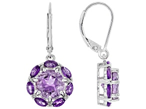 Purple Amethyst Rhodium Over Silver Dangle Earrings 4.37ctw