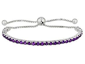 Purple Amethyst Rhodium Over Silver Bolo Bracelet 2.81ctw