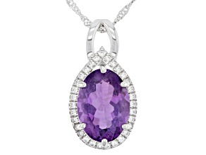 Purple Amethyst Rhodium Over Sterling Silver Pendant With Chain 5.65ctw