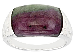Red Ruby-Zoisite Rhodium Over Silver Band Ring