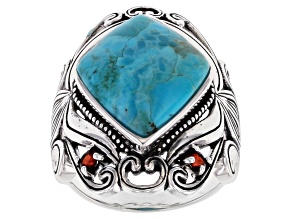 Blue Turquoise Rhodium Over Silver Ring .18ctw