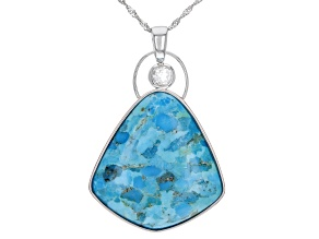 Blue Turquoise Rhodium Over Silver Pendant with Chain .62ct
