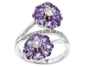 Purple Amethyst Rhodium Over Sterling Silver Flower Bypass Ring 2.27ctw