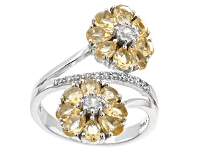 Yellow Citrine Rhodium Over Silver Flower Bypass Ring 2.28ctw