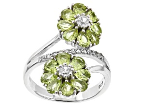 Green Peridot Rhodium Over sterling Silver Ring 3.58ctw