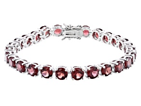 Red Granet Rhodium Over Sterling Silver Tennis Bracelet 25.65ctw