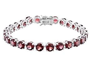 Red Garnet Rhodium Over Sterling Silver Tennis Bracelet 25.65ctw