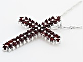 Red Garnet Rhodium Over Sterling Silver Cross Pendant With Chain 4.05ctw