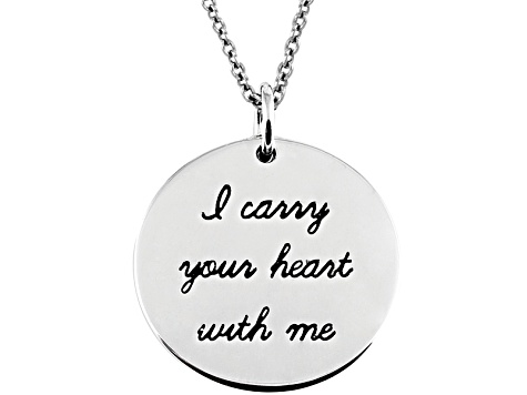 .10ctw White Diamond Sterling Silver Heart inspirational Pendant With Chain