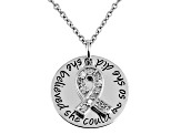 .10ctw White Diamond Sterling Silver Ribbon inspirational Pendant With Chain