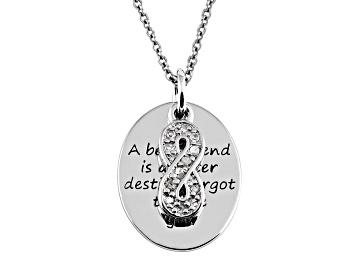 Picture of .10ctw White Diamond Sterling Silver infinity inspirational Pendant With Chain
